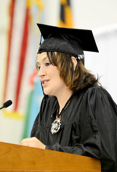 Kathleen Dorman an external diploma program graduate was the guest speaker Sunday during commencement at Hagerstown Community College's Athletic, Recreation and Community Center.