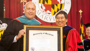 "Oriole Hall of Famer <a href=""http://www.baltimoresun.com/sports/orioles/ripken/"">Cal Ripken Jr.</a> drew a laugh Sunday during his commencement address at the University of Maryland, College Park when he noted his wife, Kelly, graduated from the university, ""although she will not allow me to reveal the year."""