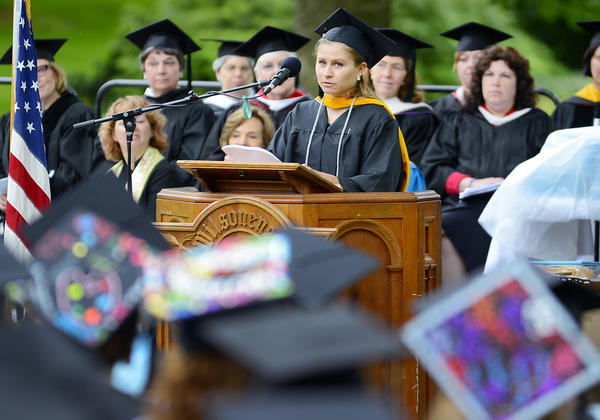 Class of 2013 President Megan Longstreet gave a student address Sunday afternoon at commencement in Chambersburg, Pa.