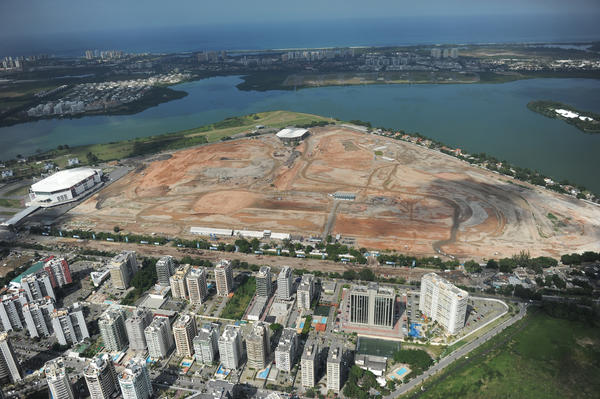 Aerial view taken on May 10, 2013 of the site of the future Olympic Park being constructed for the 2016 Games to be held in Rio de Janeiro, Brazil.