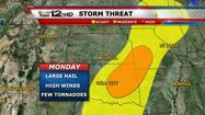 "<span style=""font-size: small;"">The severe weather risk will be winding down through the remainder of the night with storms tracking south and east of the area.</span>"