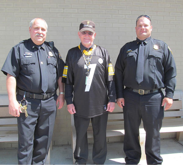 During National Correctional Employee Week, which was May 5 to 11, Maryland Correctional Training Center, south of Hagerstown, held its annual employee luncheon and honored its employees of the year. The employees were recognized for their outstanding work during 2012. Pictured from left are Lt. Rodney McCoy, Chaplain Robert Lashinsky and Correctional Officer II Darren Shade. Not pictured is Correctional Officer II Barry Townsend.