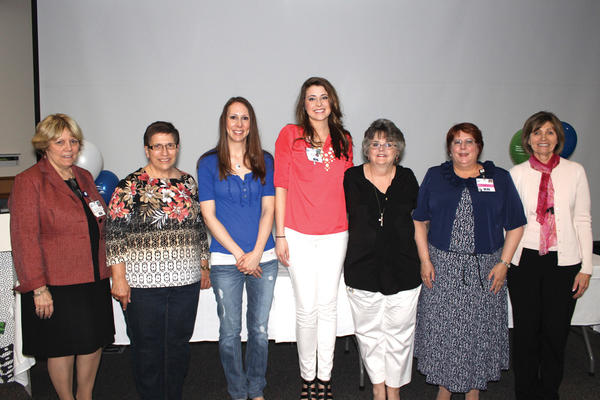 Pictured from left are Vice President of Patient Care Services/Chief Nursing Officer Donna Clews; Rose Boarman (fifth floor), Outstanding LPN Award; Julia Lark (orthopedics), Medical Surgical Nursing Excellence Award; Brittany Cole (sixth floor), Critical Care Nursing Excellence Award; Tina Aaron (labor/delivery), Maternal/Child Nursing Excellence Award; and Nurse Directors and Work Life Council leaders Melanie Riley (Birthing Center) and Peggy Ziegler (orthopedics/pediatrics).
