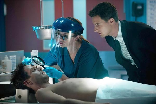 "Joey McIntyre, left, Lauren Holly and Brendan Penny in ""Motive."""