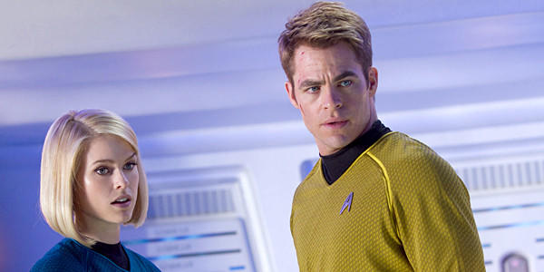 "Alice Eve is Carol and Chris Pine is Kirk in ""Star Trek Into Darkness."""