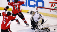 (Reuters) - The Ottawa Senators clawed their way back into their Eastern Conference semi-final series against Pittsburgh on Sunday, Colin Greening's goal in double overtime giving them a 2-1 win over the Penguins in Game Three.