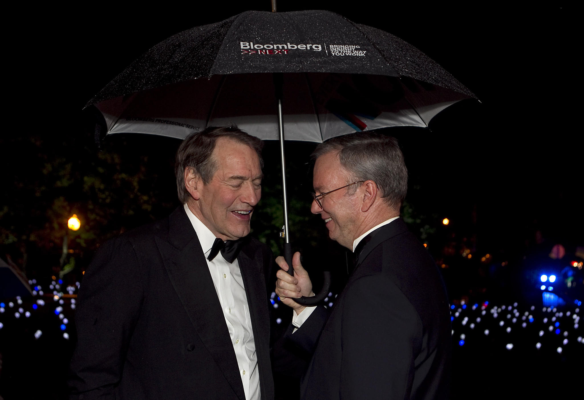 Broadcaster Charlie Rose, left, and Google Chairman Eric Schmidt attend the Bloomberg Vanity Fair White House Correspondents' Association (WHCA) dinner afterparty in Washington, D.C., U.S., on Saturday, April 28, 2012.
