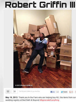 Washington Redskins quarterback Robert Griffin III posted this photo of himself in front of boxes of wedding gifts from fans.