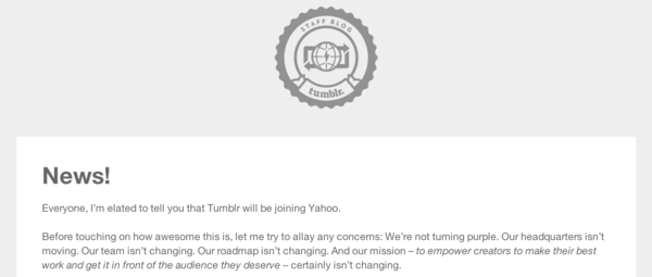 Tumblr CEO David Karp went on the social network to confirm Yahoo's acquisition.