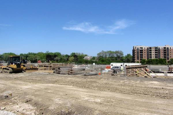 Workers are about a third done pouring the foundation for Mundelein's new village hall, officials said.