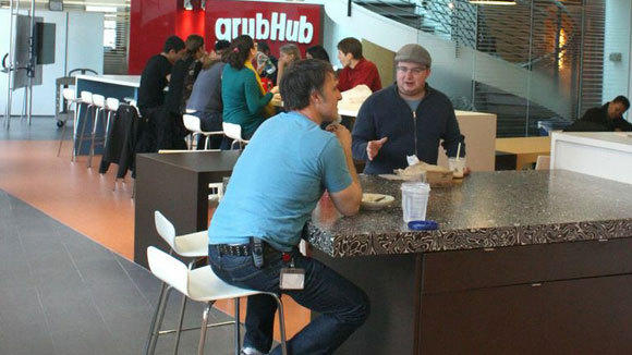 A handout photo of the lobby at GrubHub.