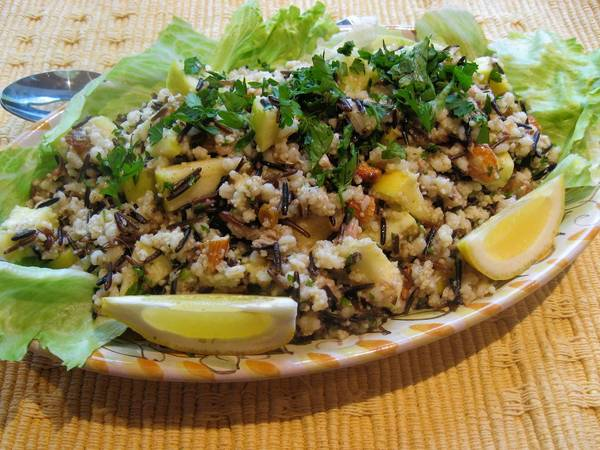 This three-grain salad is filling. It combines barley, wild rice and whole wheat couscous for different textures and neutral colors.