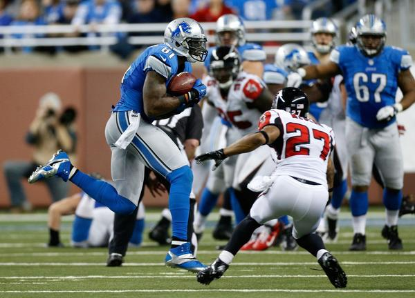 Detroit Lions receiver Calvin Johnson catches a pass against the Atlanta Falcons.