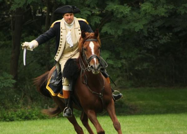 David Loda portrays Lt. Col. David Humphreys, an aide to George Washington, Saturday in Old Wethersfield.