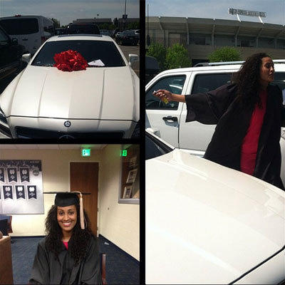 Photos posted by Roc Nation on Webstagram of Tulsa Shock rookie Skylar Diggins' graduation surprise from the sports representation agency.