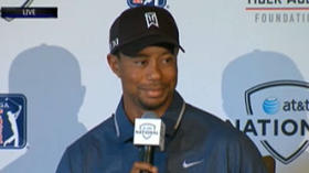 Watch Tiger Woods give a one-word response about Sergio Garcia
