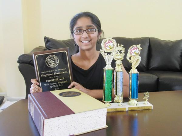 Homer Jr. High student Meghana Kamineni will compete in the Scripps National Spelling Bee in Washington, D.C., later this month.
