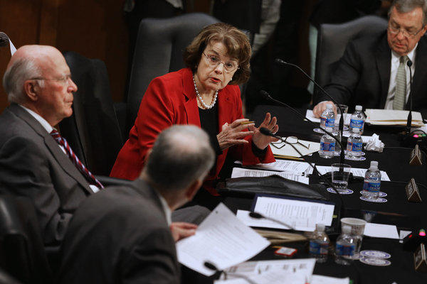 Sens. Patrick J. Leahy (D-Vt.), Charles E. Grassley (R-Iowa), Dianne Feinstein (D-Calif.) and Richard J. Durbin (D-Ill.) debate immigration reform.