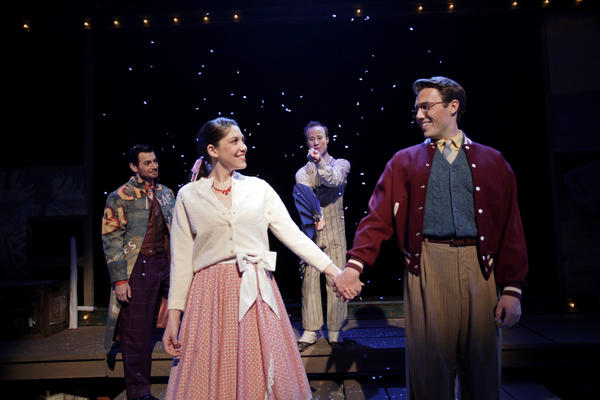 "Perry Ojeda, from left, Addi McDaniel, Nate Dendy and Anthony Carillo in ""The Fantasticks"" at South Coast Repertory."