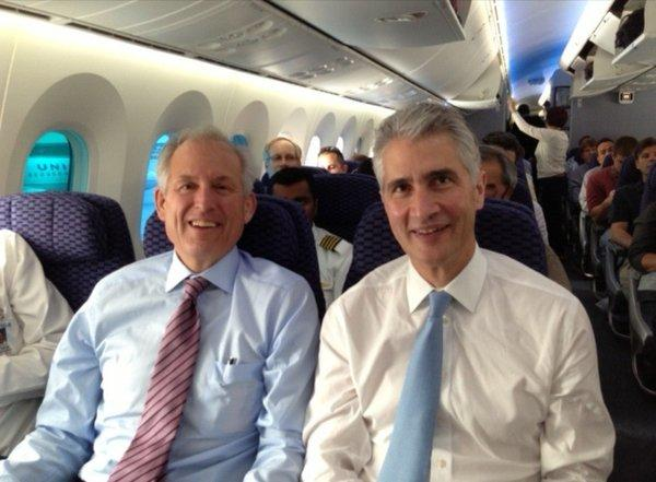 Boeing Chief Executive W. James McNerney Jr., left, and United's Jeff Smisek on board the first 787 Dreamliner to resume commercial service in the United States.