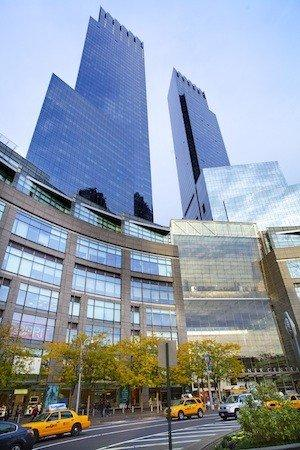 The Time Warner Center in New York City is at the southern edge of Central Park at Columbus Circle.