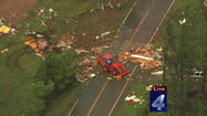 An aerial view of the damage in the aftermath of tornadoes that touched down just outside of Wellston, Oklahoma