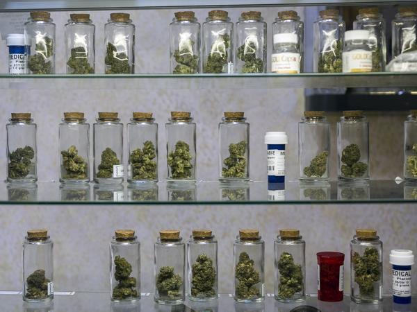 Vials of pot are displayed at the Venice Beach Care Center medical marijuana dispensary in Venice, Calif.