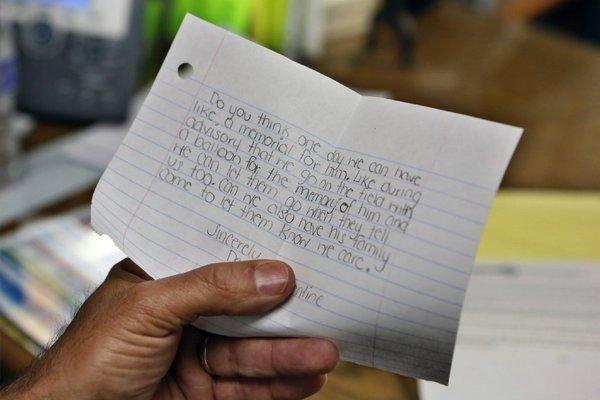 A note from a distressed teen about a classmate who may have committed suicide.