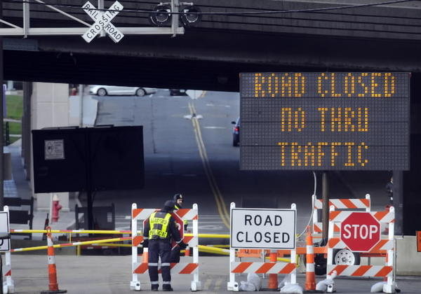Flower Street was closed to through traffic in December. Courant file photo.