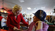 Operating on just four hours of sleep and trailed by a swarm of journalists, Los Angeles mayoral candidate Wendy Greuel asked for votes and talked up the historic nature of her campaign during a lunchtime stop in Chinatown.