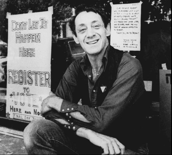 The late Harvey Milk in front of his camera shop in San Francisco in 1977.