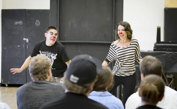 "Marcus Munguia and Haley Rubin improvise during Eli Simon's ""Art of Clowning"" workshop at UC Irvine."