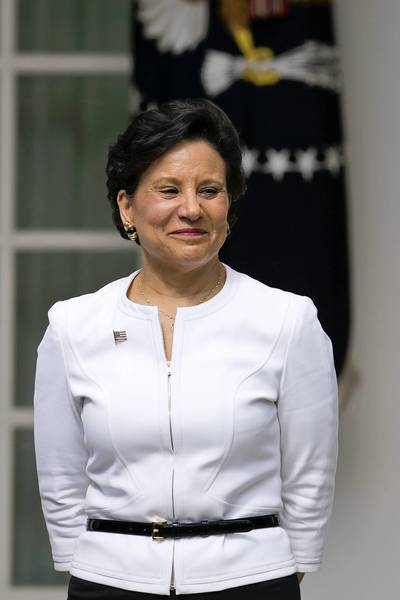 Penny Pritzker, chairman, president and chief executive officer of Pritzker Realty Group LLC and U.S. President Barack Obama's nominee as secretary of commerce, listens as Obama, not pictured, makes an announcement in the Rose Garden of the White House in Washington, D.C., U.S., on Thursday, May 2, 2013.