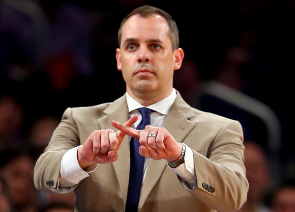 Indiana Pacers Coach Frank Vogel looks on during a game against the New York Knicks.