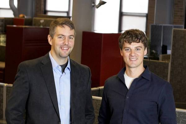 GrubHub co-founders Mike Evans, left, and Matt Maloney are part of Chicago's startup community. Their company is merging with rival Seamless.