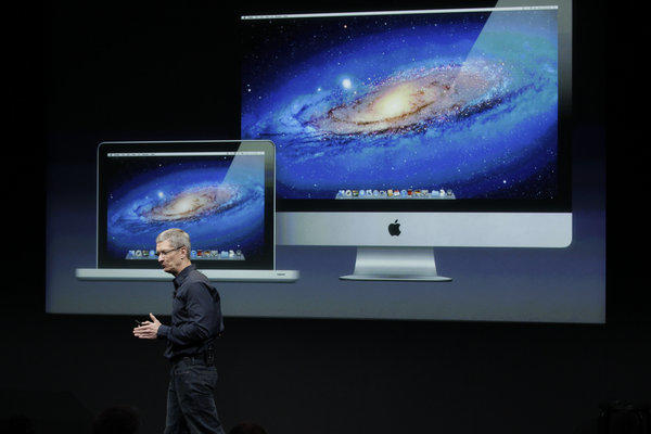 Apple Chief Executive Tim Cook at a company presentation.