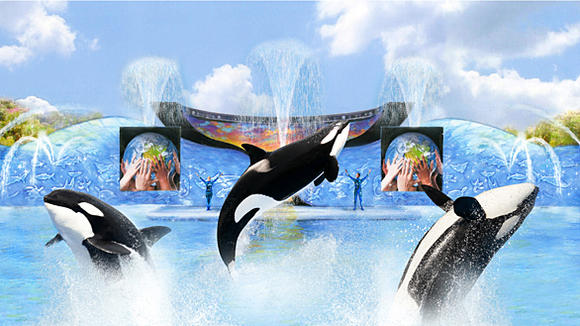 """One Ocean"" Shamu killer whale show at SeaWorld San Diego."