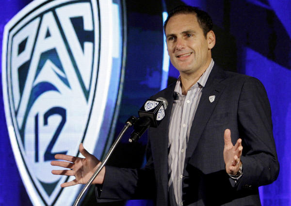 Pac12 commissioner Larry Scott talks during the Pac12 college football media day in 2011.