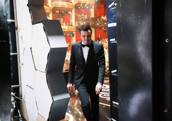 Seth MacFarlane backstage at the 85th Academy Awards.
