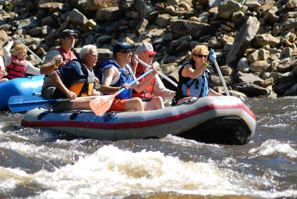 Rafters (first raft from left) Chris Kocher, Bill Erdman, Eric Eberhardt, Ferd Thun and Lynn Eberhardt take part in the 2012 Lehigh River Sojourn in the Lehigh Gorge. The annual sojourn runs June 21-24 this year.
