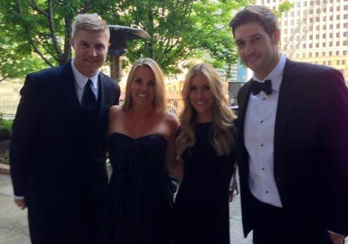 (L to R) Josh and Natalie McCown, Kristin Cavallari and Jay Cutler on the Chicago Cut Steakhouse patio May 18, 2013 before attending the Bears Care gala.
