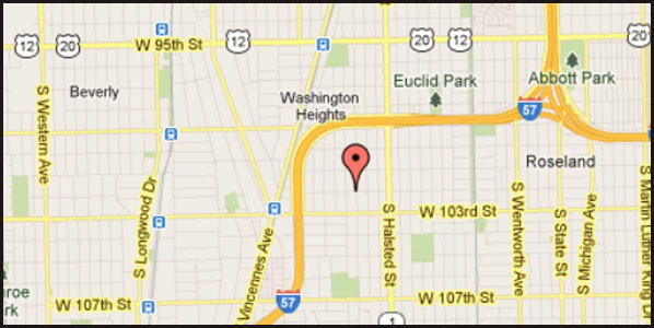 Map of location of where two people died in a fatal crash on the city's Far South Side.