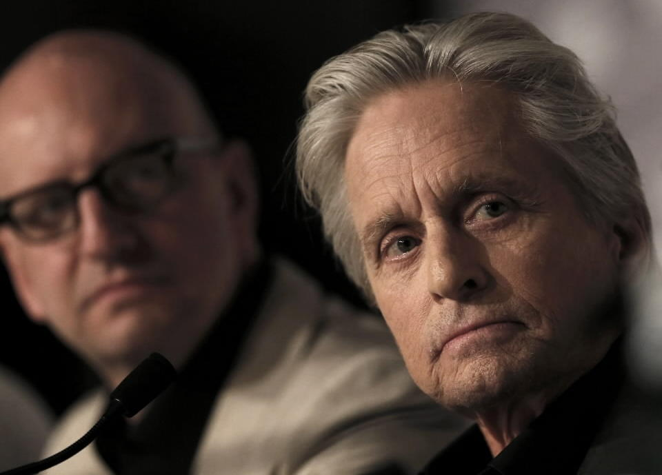 """Director Steven Soderbergh and cast member Michael Douglas attend a news conference for the film """"Behind the Candelabra"""" during the Cannes Film Festival on Tuesday."""