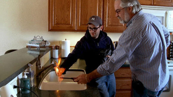 "In his 2010 film ""Gasland,"" director Josh Fox lights tap water on fire."