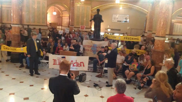 Opponents of fracking legislation pack the Illinois Capitol for hearings Tuesday.