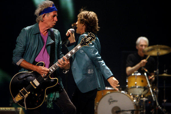 Keith Richards, Mick Jagger and Charlie Watts of the Rolling Stones perform at the Honda Center in Anaheim last Wednesday.
