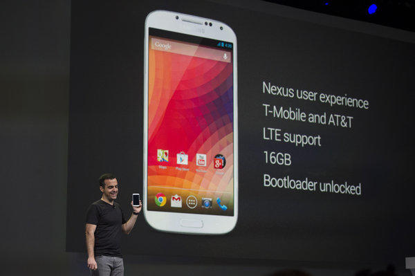 Hugo Barra, vice president of product management for Android at Google Inc., holds a Samsung Galaxy S4 Google Edition phone while speaking at the Google I/O Annual Developers Conference last week.
