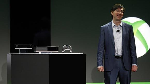 Don Mattrick, president of the interactive entertainment business at Microsoft reveals the Xbox One during a press event Tuesday.