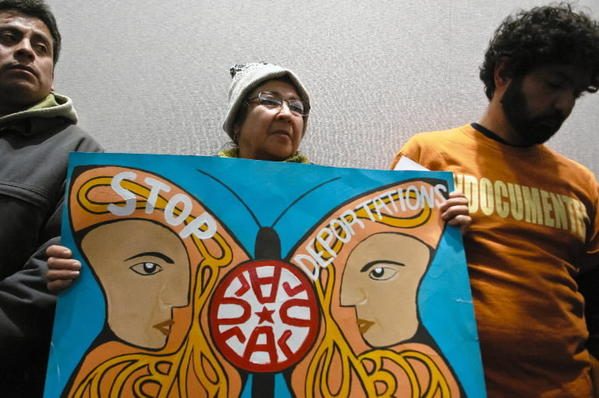 Jose Maria Islas, left, Marta Rojas and John Lugo attend a press conference in February held by an immigration reform coalition supporting a path to citizenship for undocumented immigrants and a moratorium on deportations. They met at the Legislative Office Building in Hartford.