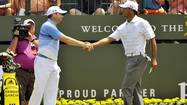 VIRGINIA WATER, England, — Sergio Garcia's feud with Tiger Woods will not stop him shaking hands with the world number one the next time they are drawn together in a tournament, the Spaniard said on Tuesday.